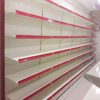 Wall mounted store shelving