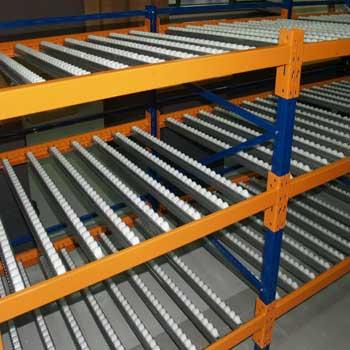 Roller warehouse shelving
